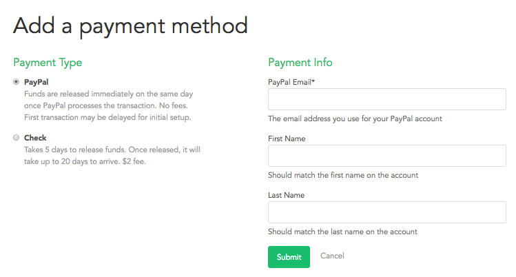 Choose your payment type. Select PayPal or Check.