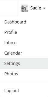 Navigate to your settings by selecting your name and then Settings.